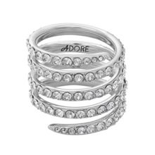 Adore Rhodium Plated Pave Coil Ring