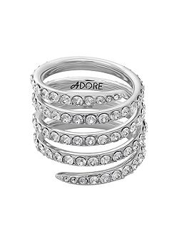 Rhodium Plated Pave Coil Ring