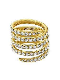 Gold Plated Pave Coil Ring