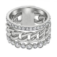 Adore Rhodium Plated 3 Row Fixed Ring