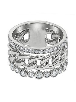 Rhodium Plated 3 Row Fixed Ring