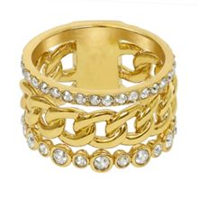Adore Gold Plated 3 Row Fixed Ring