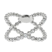 Adore Rhodium Plated Beaded Crossing Ring