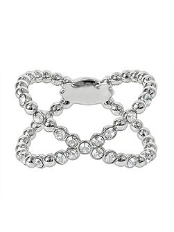 Rhodium Plated Beaded Crossing Ring