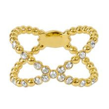 Adore Gold Plated Beaded Crossing Ring