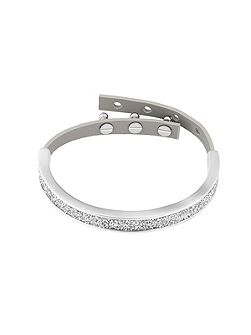 Rhodium Plated Fabric/Leather Cuff