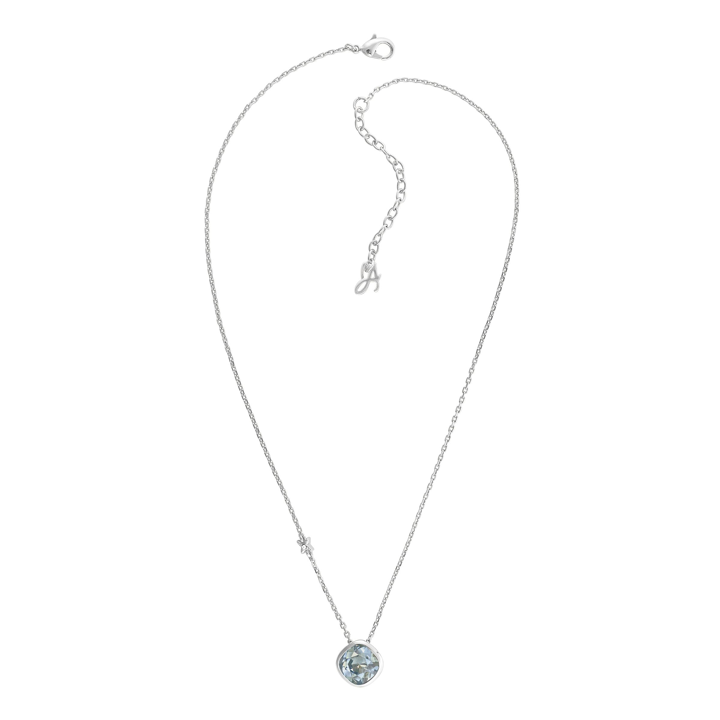 adore rhodium plated blue soft square necklace