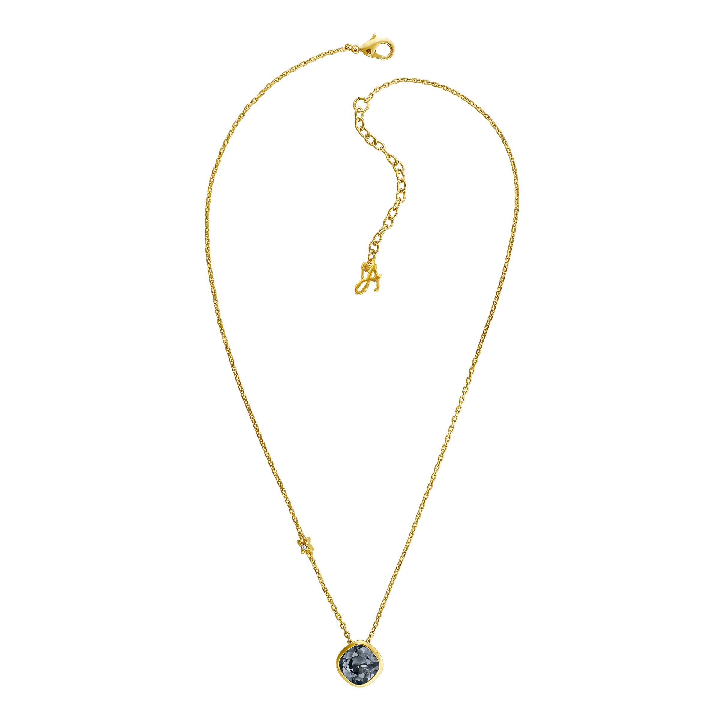 adore gold plated black soft square necklace