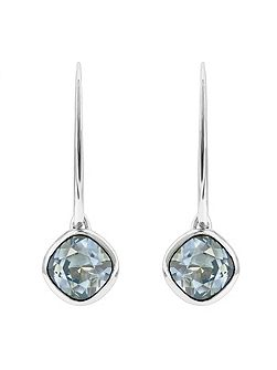 Rhodium Plated Blue Soft Square Earrings