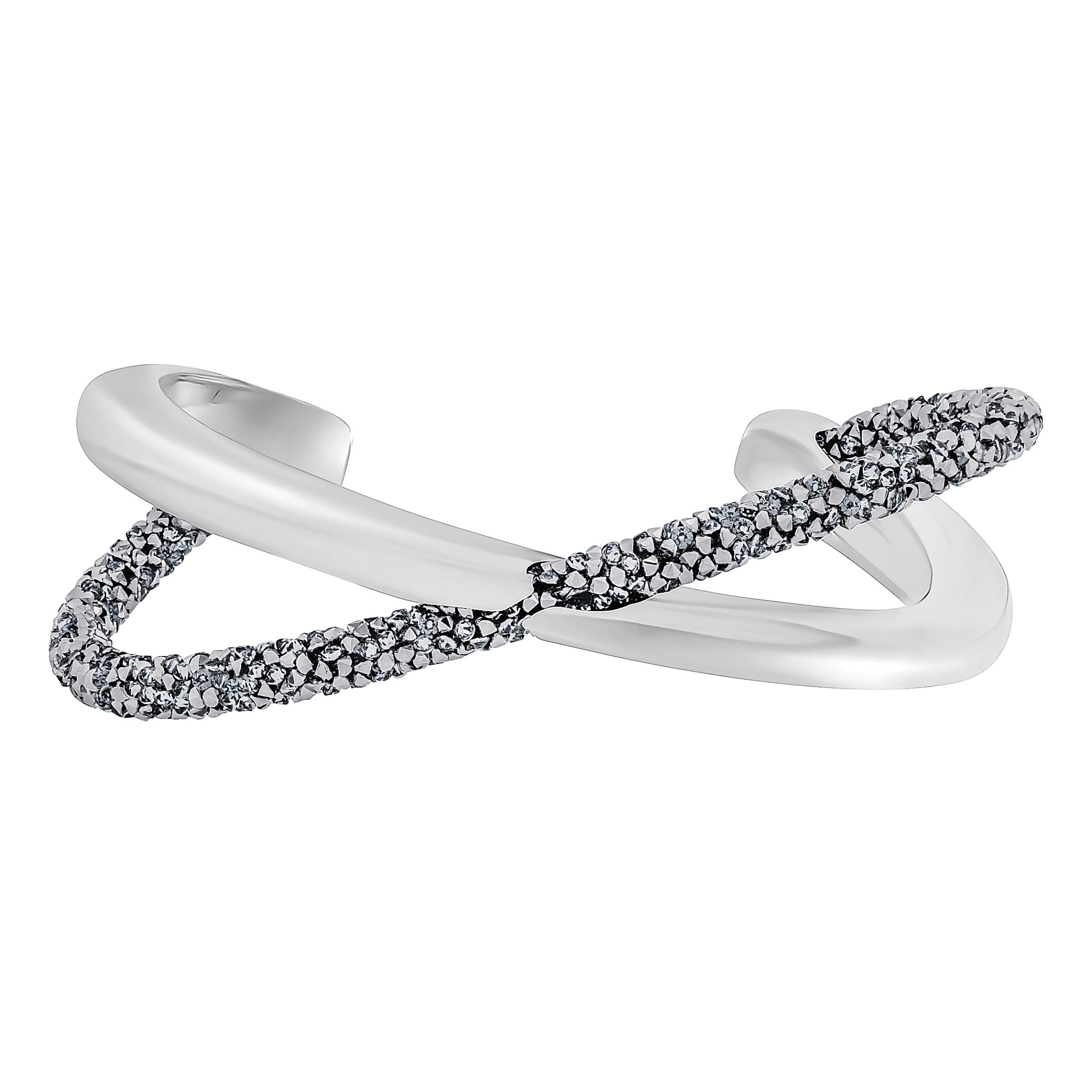 Swarovski Crystaldust Cross Cuff, Grey, Grey