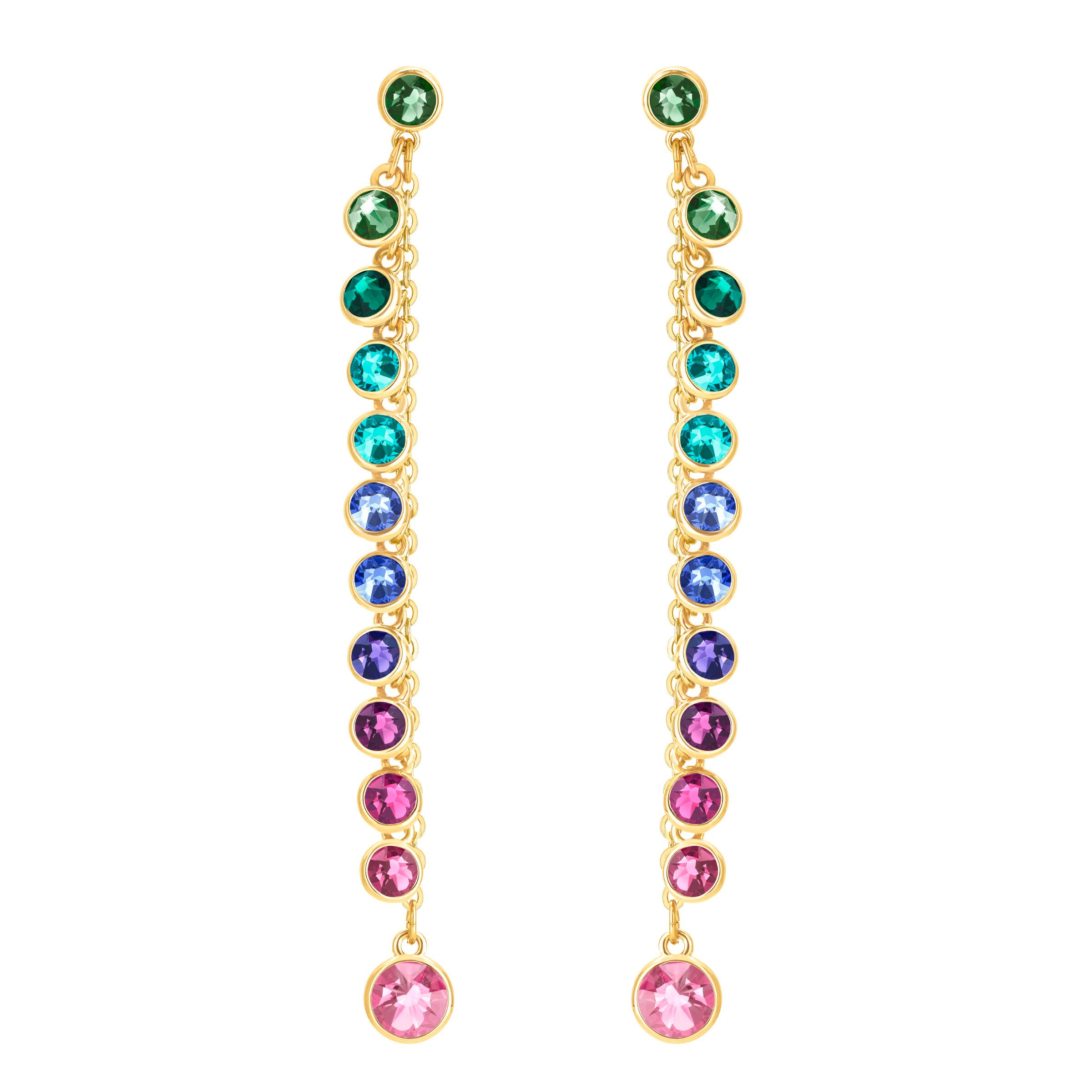 Swarovski Attract Pierced Earrings, Multi-Colored, Gold Pla, Multi-Coloured