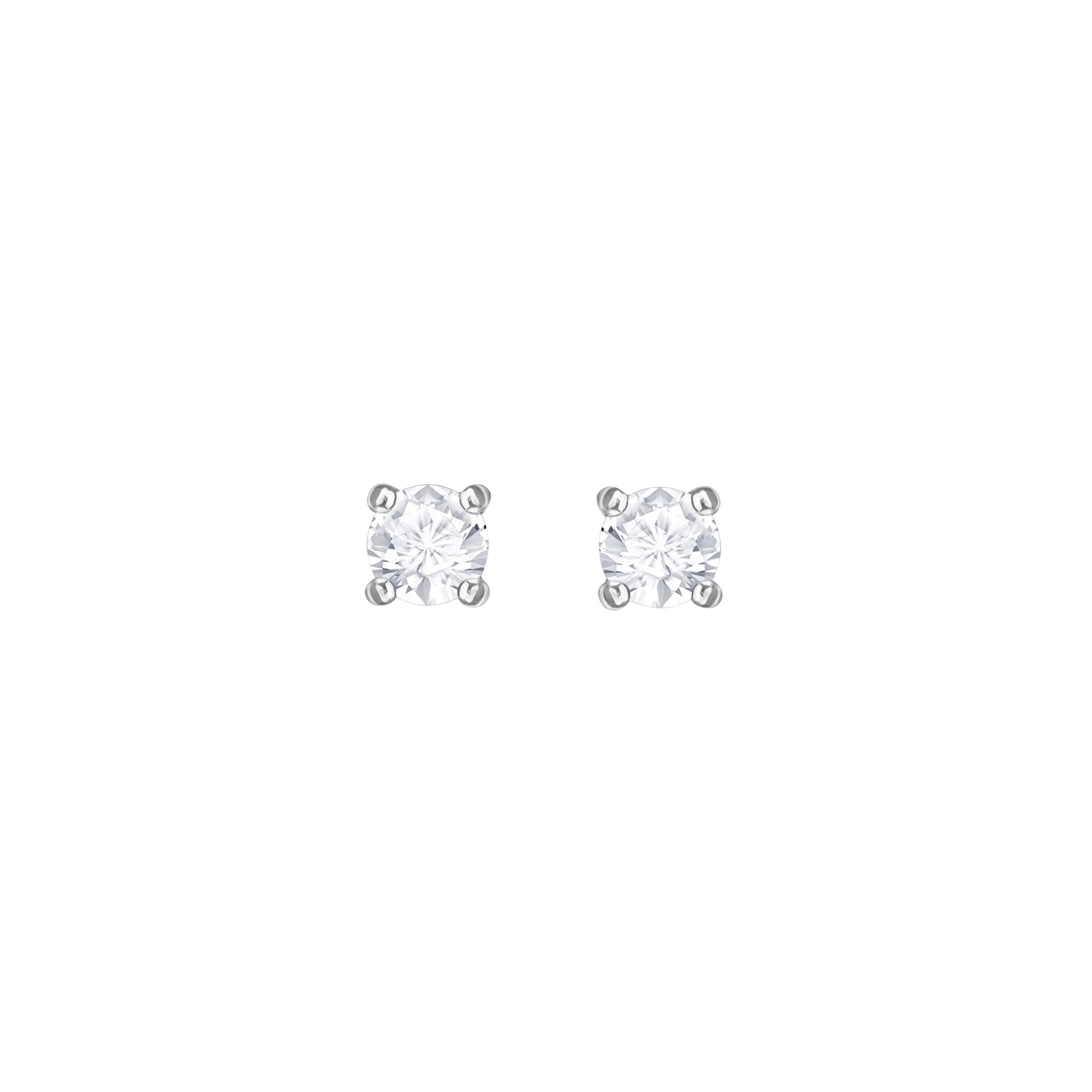 Swarovski Attract Round Pierced Earrings, White, Rhodium Pl, White