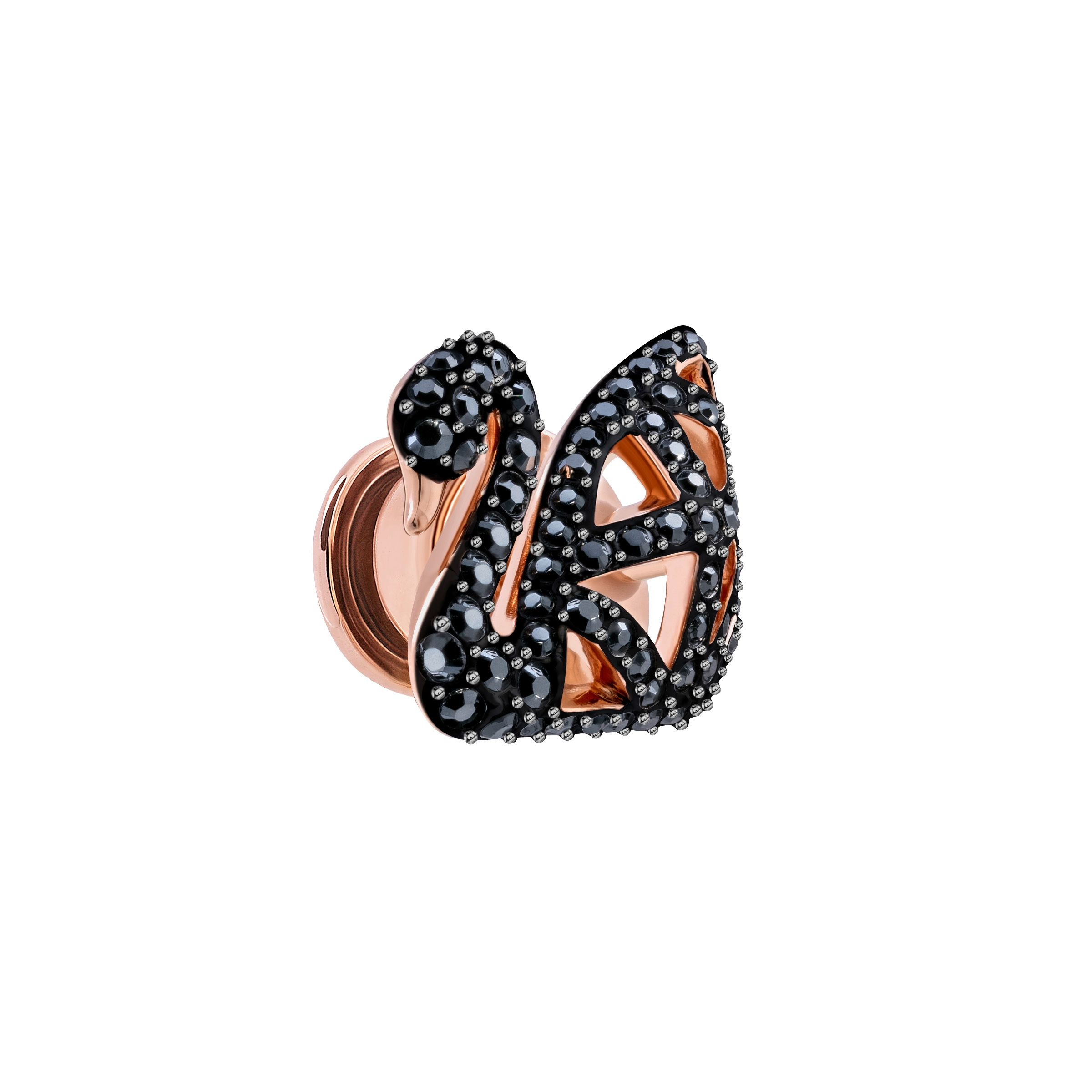 Swarovski Facet Swan Tack Pin, Black, Rose Gold Plating, Black