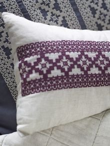 Francoise mulberry cushion, embroidered design