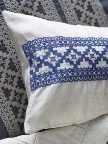Francoise indigo cushion, embroidered design