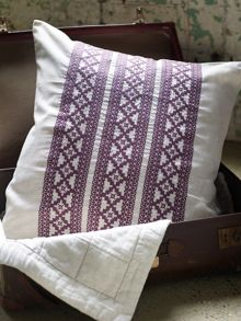 Francoise mulberry square pillowcase, embroidered