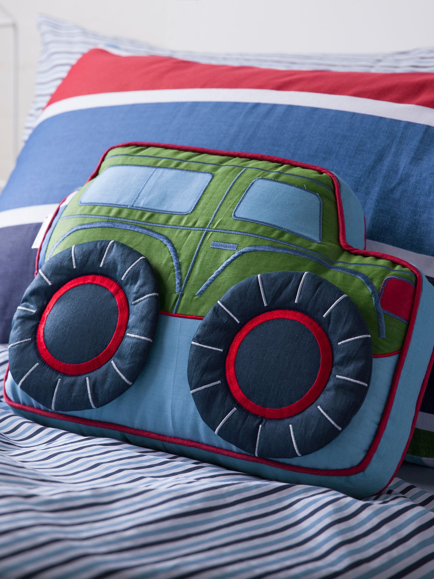 Pedro navy cushion, jeep shaped