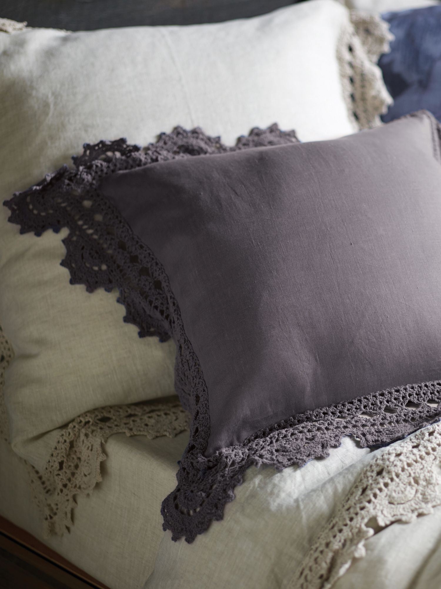 Evelina smoke cushion, handmade crochet trim