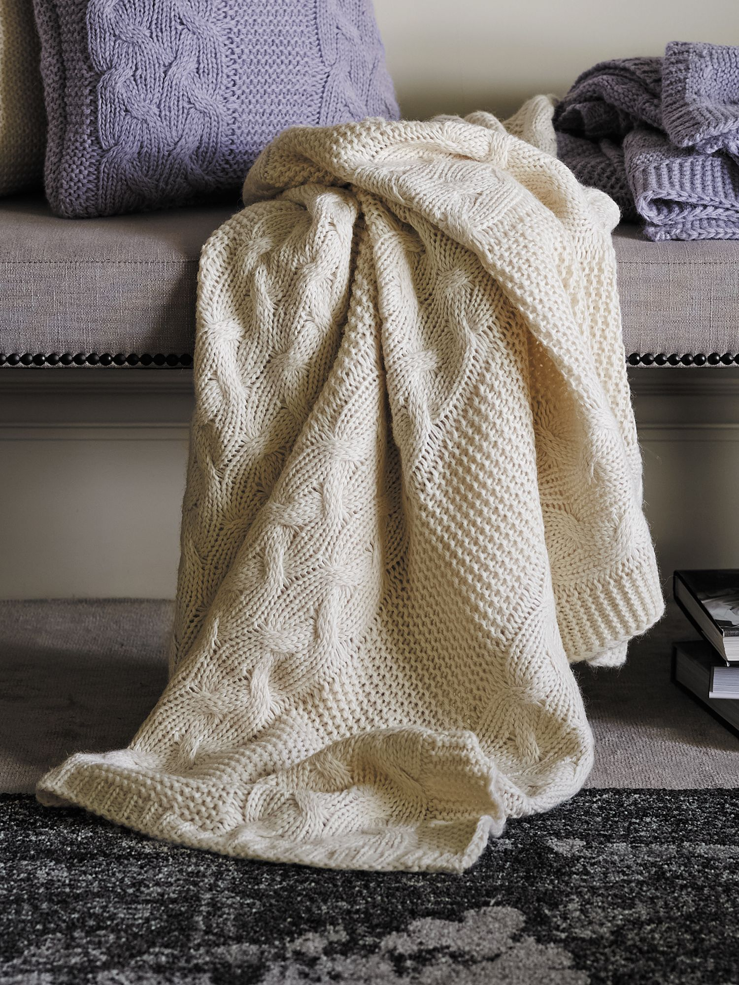 Roslyn chalk throw chunky knit