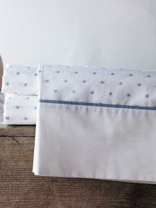 Lucio chambray cot fitted sheet star design