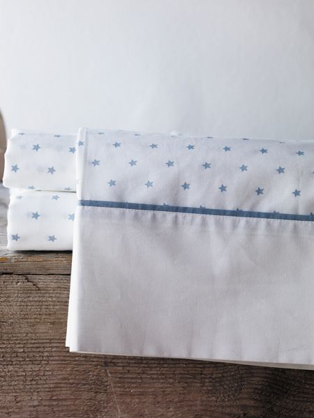 Sheridan Lucio chambray cot fitted sheet star design