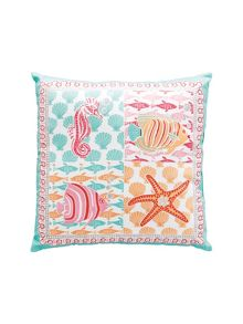 Angelfish coral square cushion