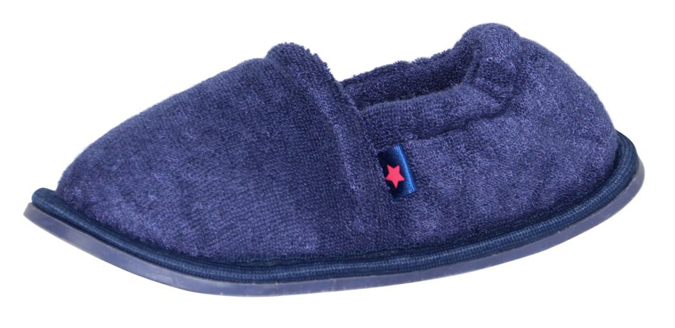 Boy`s navy terry slipper