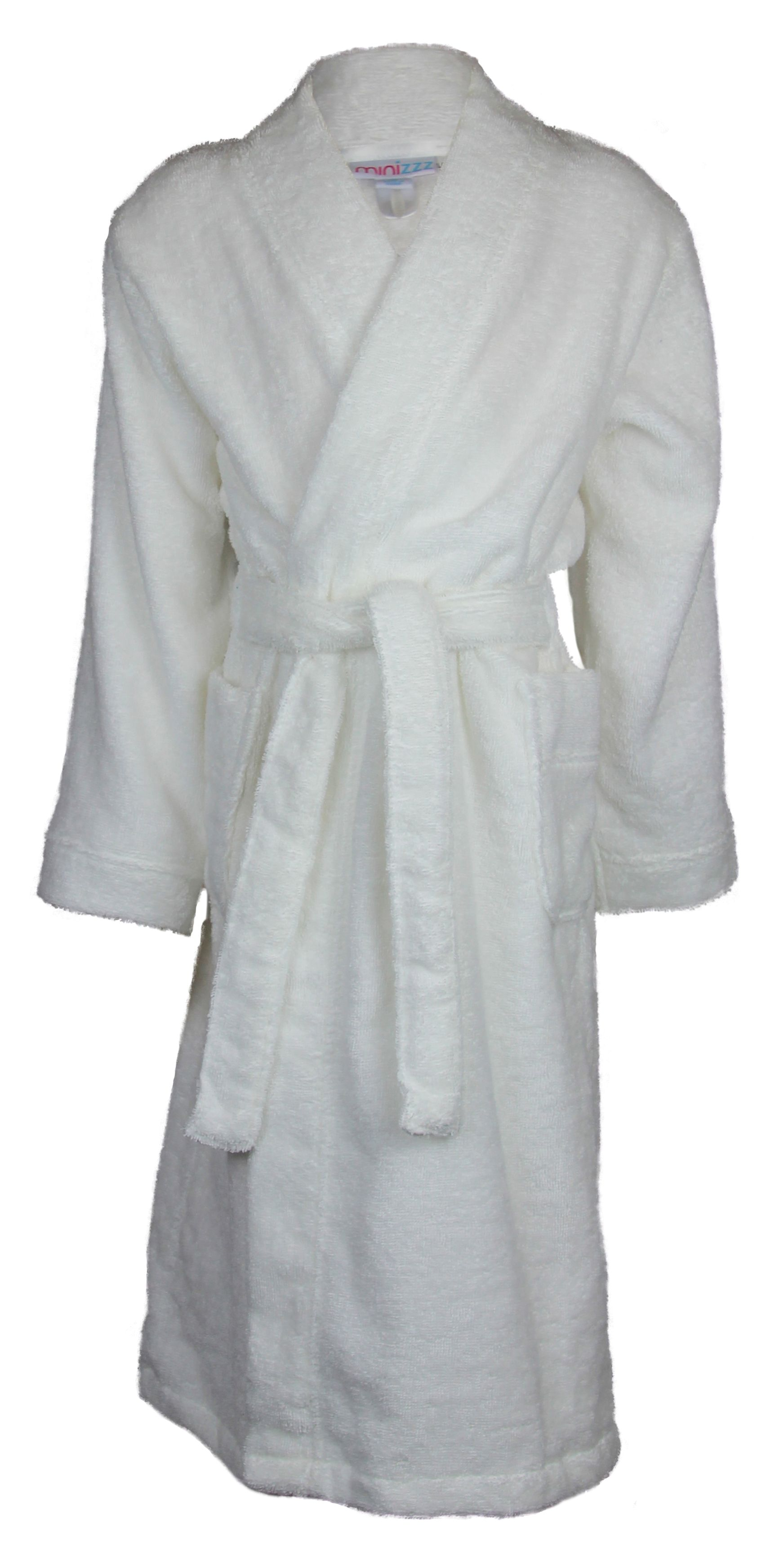 Girl`s white terry robe