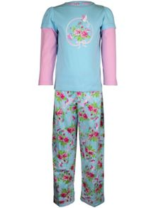 Girl`s rose garden knit & flannel pyjama