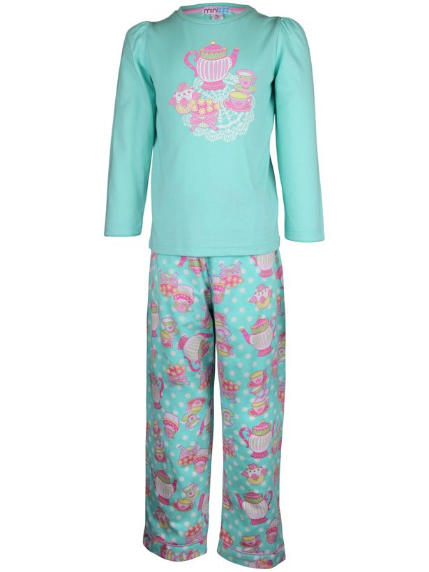 Girl`s tea party knit & flannel pyjama