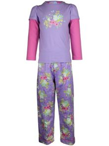 Girl`s winter bouquet knit & flannel pyjama