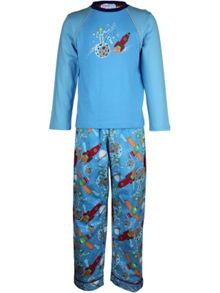 Boy`s space patrol knit & flannel pyjama