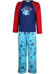 Girl`s counting stars knit & flannel pyjama