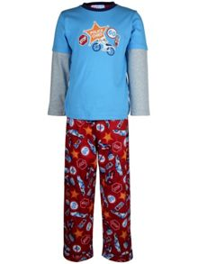 Boy`s police chief knit & flannel pyjama