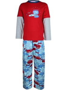 Boy`s retro car knit & flannel pyjama