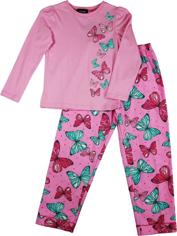 Girl`s butterfly knit & flannel pyjama