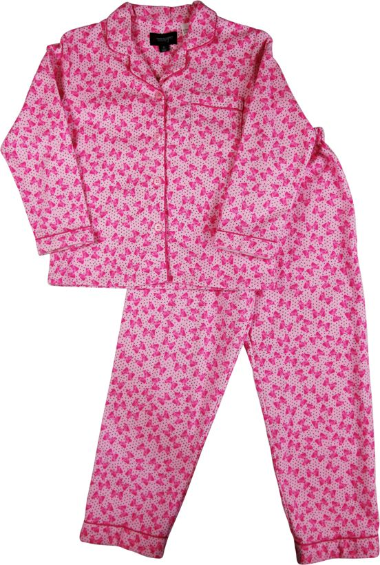 Girl`s bow tie flannel pyjama
