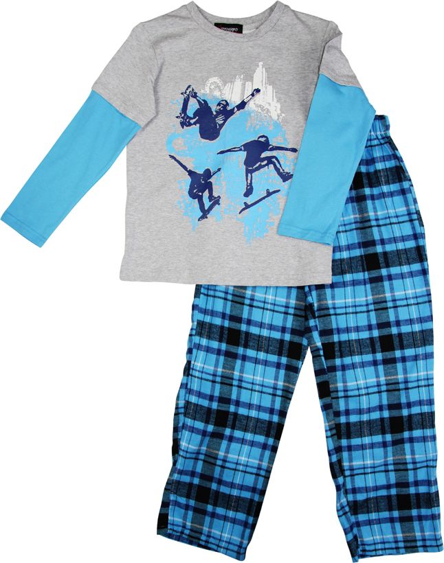 Boy`s city skating knit & flannel pyjama
