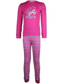 Girl`s carousel stripe long john pyjama