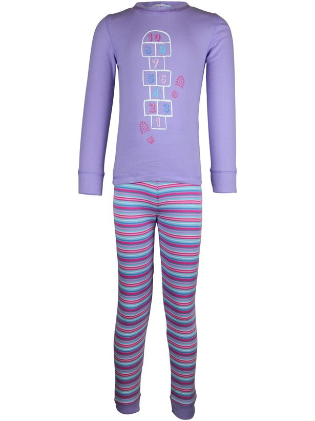 Girl`s hop scotch stripe long john pyjama