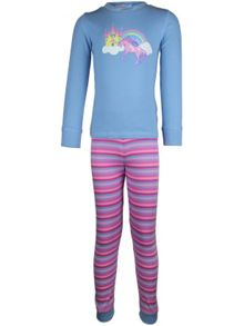 Girl`s unicorn stripe long john pyjama