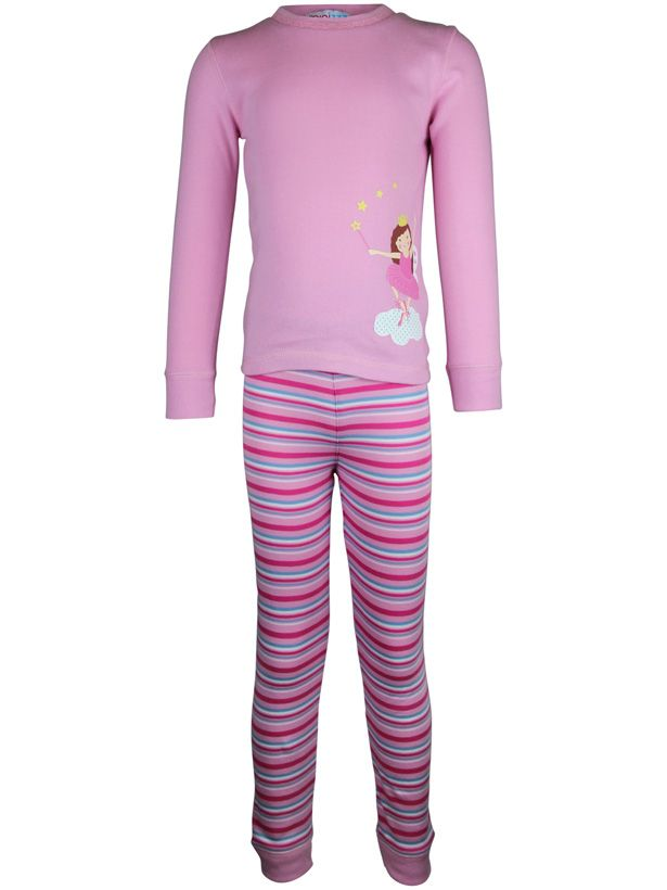 Girl`s fairy stripe long john pyjama