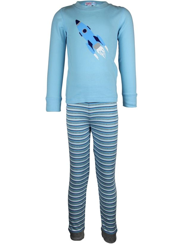 Boy`s rocket stripe long john pyjama