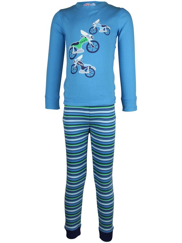 Boy`s bike stripe long john pyjama