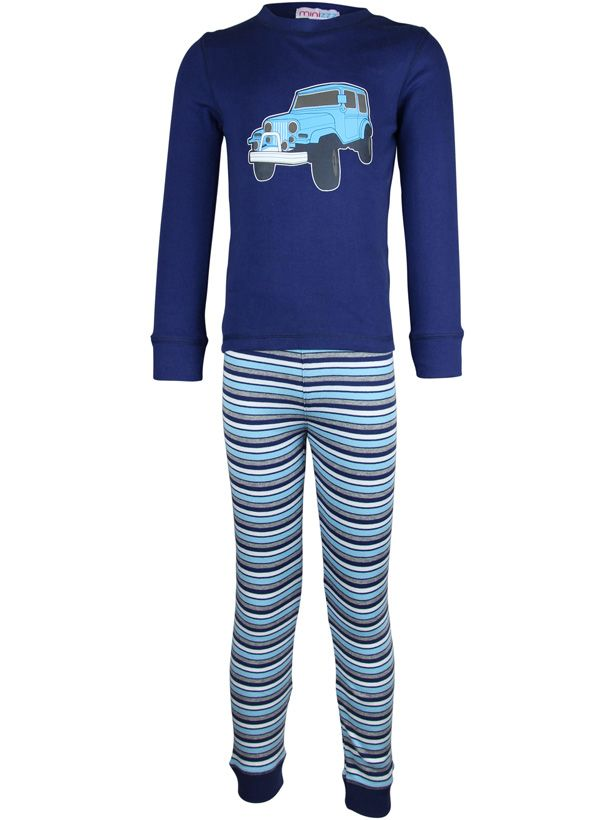 Boy`s jeep stripe long john pyjama