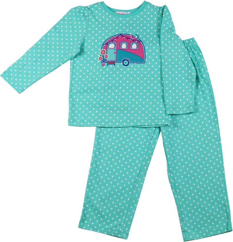 Girls aqua spot pyjamas
