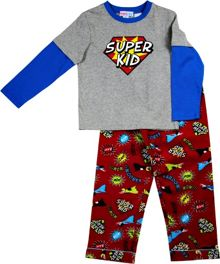 Boys super kid knit top/flannel pant