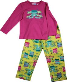 Girls little house top/flannel pant