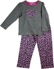 Girls leopard knit top/flannel pant