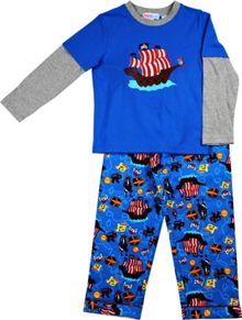 Boys pirates knit top/flannel pant